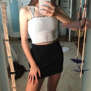 f21 cropped contrast stitch smocked tank top